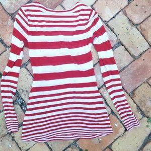 Splendid red & white striped knit top XS July 4th